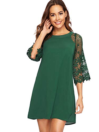 MakeMeChic Women's Casual Crewneck Half Sleeve Summer Chiffon Tunic Dress Green M