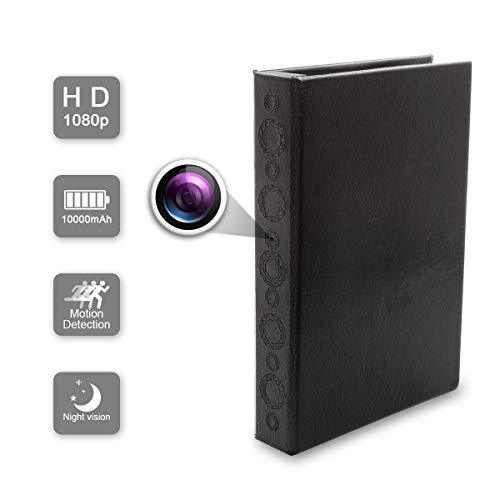 DareTang 1080p Hidden Spy Book Camera with PIR Motion Activated,