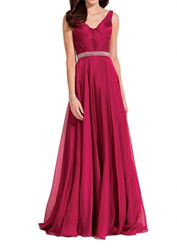 Abendkleider Lang Festlichkleider Damen Ausschnitt V Charmant Guertel Steine Partykleider Rot Ballkleider Dunkel Rot Dunkel q0v6xR0P