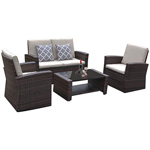 YITAHOME 5 Piece Outdoor Patio Furniture Sets, Garden Conversation Wicker Sofa Set, Outdoor Indoor Rattan Chair, and Sectional Sofa Seating with Table