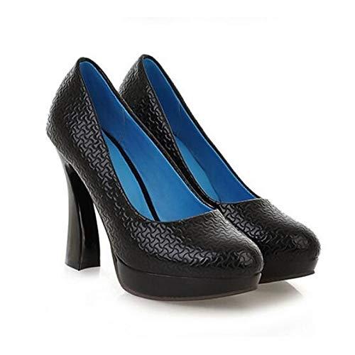 ZHZNVX Zapatos de Mujer de Charol Primavera Bomba básica Tacones Tacón de Aguja Negro Black