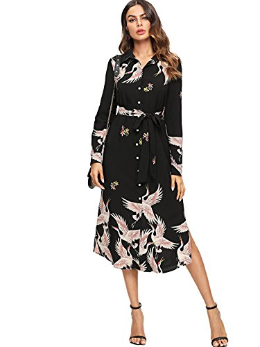 Milumia Women's Red-Crowned Crane Self Tied Slit Hem Button up Shirt Dress XS