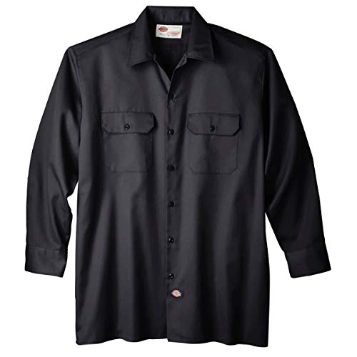 Dickies Men's Long Sleeve Work Shirt, Black, 2X Large