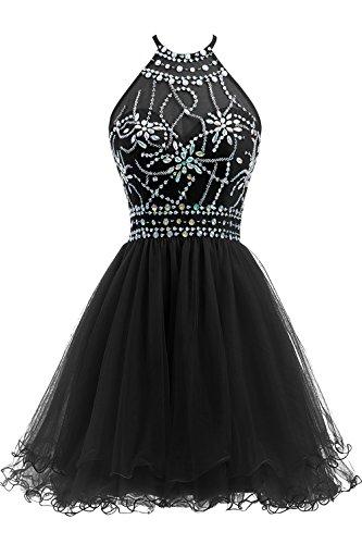 Ellames Women's Beaded Halter Homecoming Dress Short Tulle Prom Dress Black US 16 Black Beaded Halter