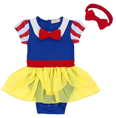 FYMNSI Newborn Baby Girls Snow White Princess Costume Fancy Birthday Bodysuit Romper Tutu Headband Halloween Christmas Outfit 0-6 Months -