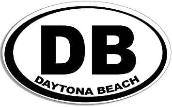 "DB Daytona Beach florida Oval car window bumper sticker decal 5/"" x 3/"""