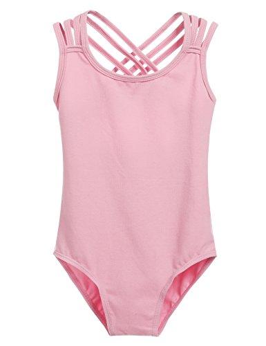 Arshiner Kids Girl Back Hollow Slim Dancing Ballet Camisole Tank Leotard,Pink,Size 120