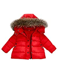 ChainSee Baby Fur Hooded Outwear Coat, Kids Lightweight Winter Warm Down Jacket
