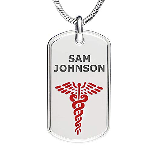 Divoti Deep Custom Laser Engraved 316L Stainless Classic Medical Alert ID Necklace -Dog Tag -24 in Snake Chain-Red