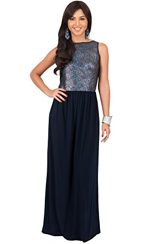 KOH KOH Plus Size Womens Long Sleeveless Cocktail Evening Bridal Party Sexy Wedding Guest Summer Elegant Bridesmaid Cute Date Sundresses Gown Maxi Dress Dresses, Silver and Navy Blue XL 14-16 (2) Cocktail Wedding Dress Gown