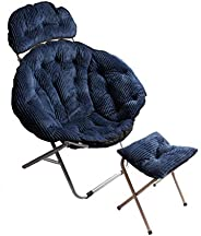 Winter Washable Folding Chair, Corduroy Large Folding Stool Outdoor Lazy Sofa Lounge Chair, Office Lounge Chai