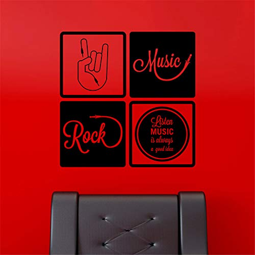 paecui Vinyl Wall Decal Wall Stickers Art Decor Peel and Stick Mural Removable Decals Listen Music is Always a Good idea for Living Room Bedroom Music Room Teen Room ()