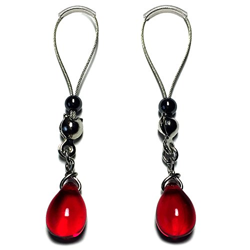 BoDivas Nipple Noose Czech Drops Non Piercing Body Jewelry Rings (Red)