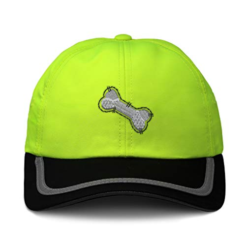 (Speedy Pros Reflective Running Hat Dog Bone Embroidery Polyester Soft Neon Hunting Baseball Cap Strap Closure One Size Neon Yellow/Black Design Only)