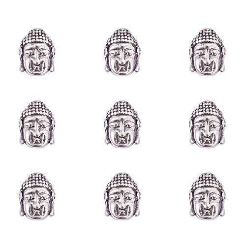 (PandaHall Elite 10 Pcs 304 Stainless Steel Buddha Head Spacer Beads Large Hole Bead 14x11x6.5mm for Jewelry Making Antique Silver)