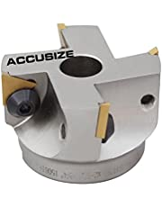 Accusize Industrial Tools 2-1/2 inch Indexable Face Shell Mill 90 Degree, Positive Rake with Tpg322 Inserts, 3508-0016