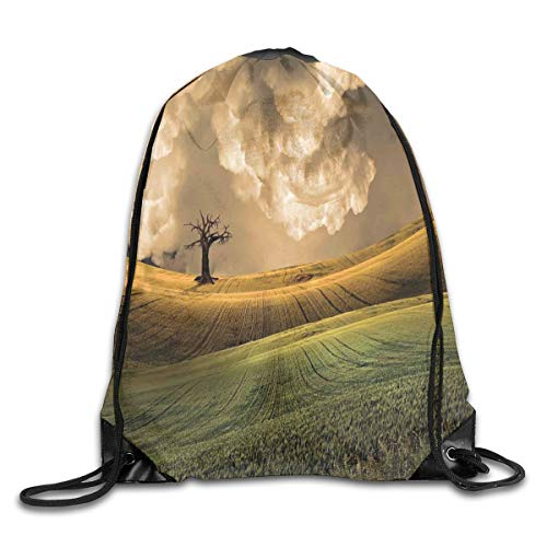 2019 Funny Drawstring Backpacks Bags Daypacks,Serene Landscape With Dramatic Sky And Single Tree On The Hill Image Home Decor,Adjustable For Sport Gym Traveling -