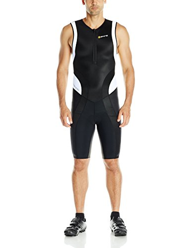 SKINS Men's Tri 400 Triathlon Skinsuit with Front Zip, Black/White, X-Small