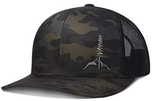 778050c3 Larix Gear - The Tamarack - Black Camo Snapback Trucker Hats for Men and  Women - Gift Box - Sticker - Mesh Panels