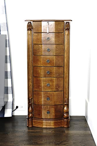 Alveare Home 8008-625 Anastasia Standing Jewelry Armoire, Walnut 2 Door Walnut Armoire