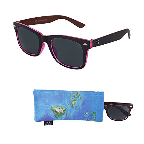 Sunglasses for Teens – Stylish Smoked Lenses for Teenagers - Reduces Glare, 100% UV Protection - Black and Pink Crystal Frame - Matching Pouch - Ages 12 to 18 - - Sunglasses Teenager