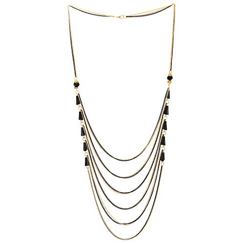 COOLSTEELANDBEYOND Black Gold Party Necklace Waterfall Multi-Strand Long Chains with Rhinestones Crystal Beads Charms