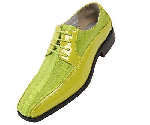 Viotti Men's Formal Oxford Dress Shoe, Striped Satin and Patent Tuxedo Classic Lace Up, Style 179 (Green Shoes Dress)