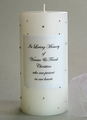 (Clear Swarovski Crystal Personalized 3x6 Memorial Candle)