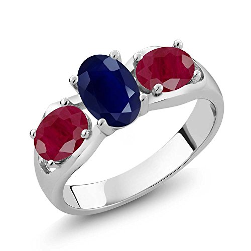 (2.22 Ct Oval Blue Sapphire Red Ruby 925 Sterling Silver Ring (Size 7))