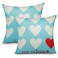 2-Pcs. Foozoup Valentine's Day Throw Pillow Cushion Cover for Sofa Couch