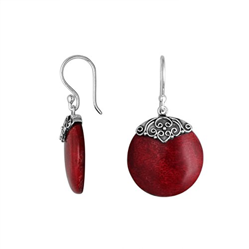 Sterling Silver Round Earring With Coral AE-6239-CR ()