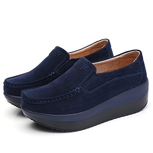 Solshine Damen Echtleder Plateau Loafers Walkmaxx mit Keilabsatz Freizeitschuhe Slipper Fitnessschuhe Dunkel Blau