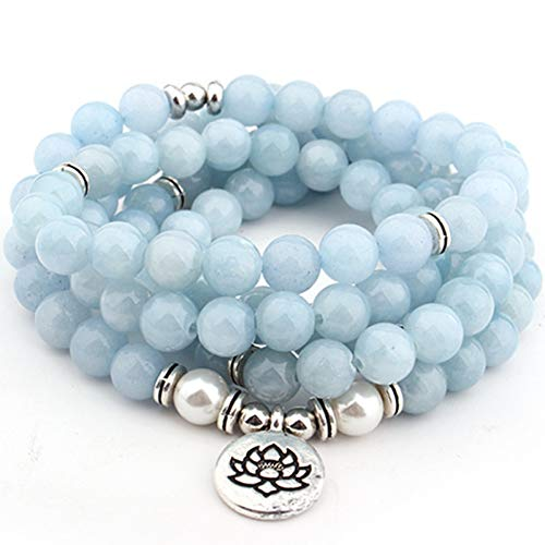 WODESHENGRI Bracelet,Women's Bracelet Sky Blue Lotus Strand Bracelet Yoga Bracelet Necklace for Women Jewelry Women's Bracelet