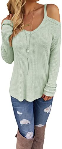 dokotoo Womens fría hombro abierto Loose Knitted Suéter parte superior Blusa