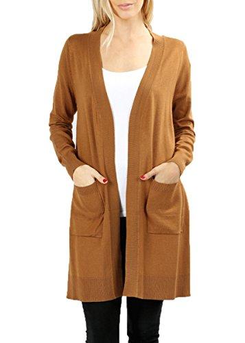 JNTOP Women's Long Sleeve Pocket Open Front Knit TW1879 Cardigan Coffee Medium