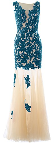 MACloth Women Mermaid Lace Long Formal Prom Evening Gown Wedding Party Dress Teal