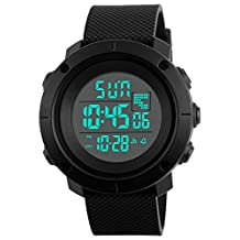 Digital Sports Watch Water Resistant Waterproof LED Military Black Big Face Men's Wristwatch