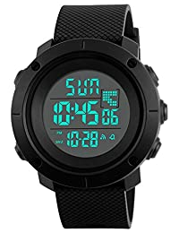 Digital Sports Watch Water Resistant Waterproof LED Military Black Big Face Men's Wristwatch