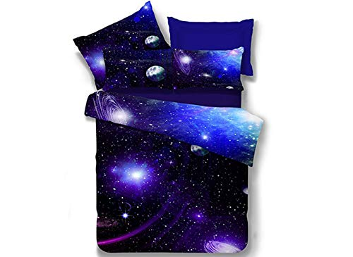 (Ammybeddings 4 PCs Cool Starry Sky Comforter Cover Set Twin Size 3D Charming Galaxy Bedding For Kids 1 Blue Duvet Cover 2 Pillow Shams and 1 Flat Sheet Soft Stylish Home Decor Duvet Cover Set)
