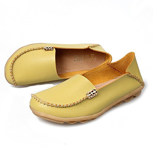 Zapatos Con Cordones De Mujer De Yixinan Fashion Flats Leather Apple Green2