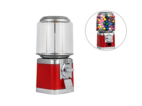Forkwin Gumball Machine with 10lb Candy Capacity Candy Dispenser Metal Candy Dispenser Machine Red Candy Vending Machine for Home use Business by Forkwin