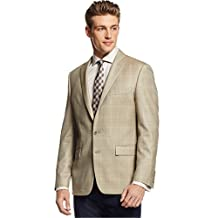 Ryan Seacrest Tan Plaid Herringbone Silk and Wool Two Button New Men's Sport Coat