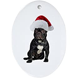 837d377391a CafePress - French Bulldog Christmas Oval Ornament - Oval Holiday Christmas  Ornament
