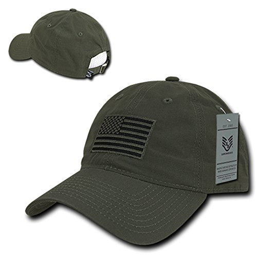(Rapid Dominance American Flag Embroidered Relaxed Cotton Adjustable Cap - Olive)
