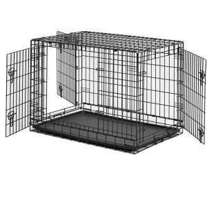 ALEKO 48 Inch 3 Doors Folding Suitcase Dog Cat Crate Cage Kennel With ABS Tray and Divider