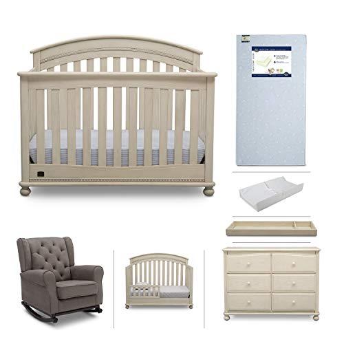 Baby Furniture Set – 7-Piece Simmons Kids Nursery, Aden | Convertible Crib, Dresser, Rocking Chair, Crib Mattress, Toddler Rail, Changing Top, Changing Pad, Antique White/Graphite Grey