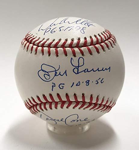 Don Larsen David Wells David Cone Perfect Game Inscription Signed Baseball. JSA