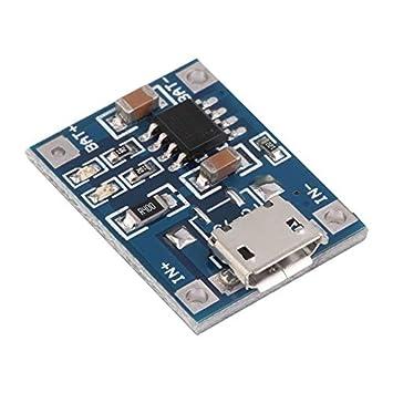 Fantasyworld Lote TP4056 1A Lipo Batería Tarjeta de Carga Módulo Cargador batería de Litio DIY Micro Puerto Mike USB Voltaje de Entrada 4.5V - 5.5V - ...
