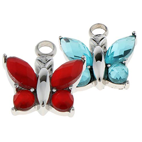 (2 Pieces Crystal Butterfly Pendant Stainless Steel Cremation Urn Jewelry Necklace Jewelry Crafting Key Chain Bracelet Pendants Accessories Best)