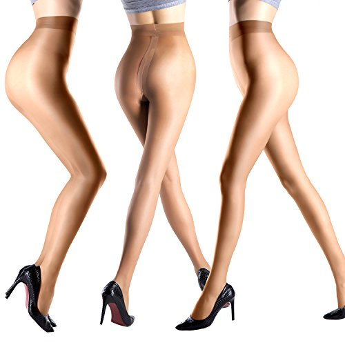 Women Pantyhose Black Nude Control Top Sheer Tights 20 Denier T Crotch Footed Nylons Legging 3 Pack Nude M